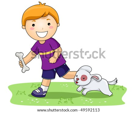 Boy playing with Dog In the Park - Vector - stock vector