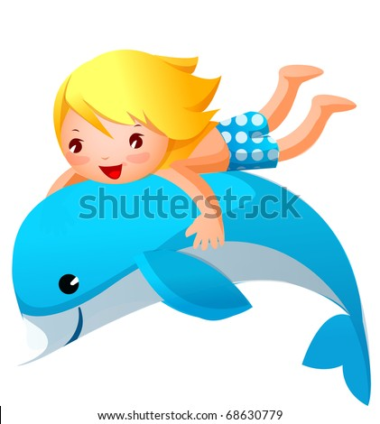 boy playing with dolphin