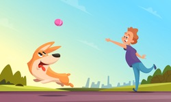 Boy playing with his pet in urban park. Dog catching little ball. Man outdoor happy activity puppy. Vector illustration