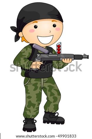boy playing with paint ball gun