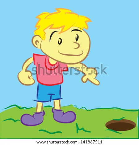 Boy Pointed to a Hole in the Ground