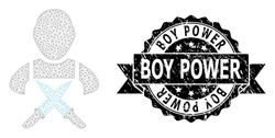 Boy Power rubber stamp seal and vector butchery worker mesh structure. Black stamp seal contains Boy Power text inside ribbon and rosette. Abstract 2d mesh butchery worker, created from flat mesh.