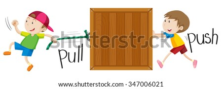 Boy pulling and pushing wooden box illustration