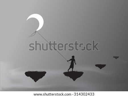 boy pulling the moon and