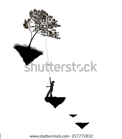 boy pulling the tree on  flying