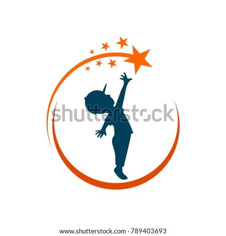 boy reach star silhouette logo