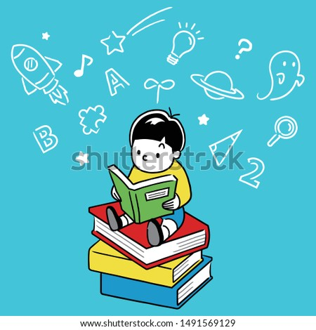 Boy reading book and imagining