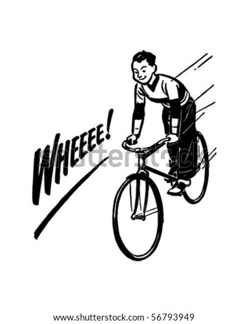 Boy Riding Bike - Retro Clip Art