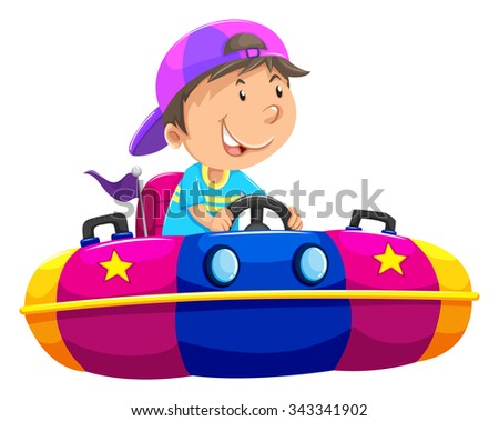 boy riding on bump car