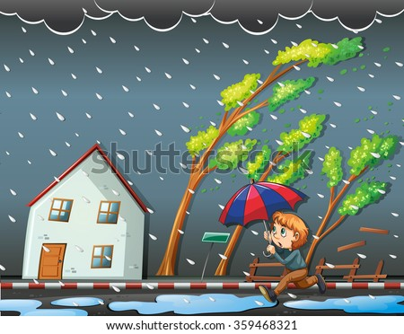Boy running in the windy night illustration