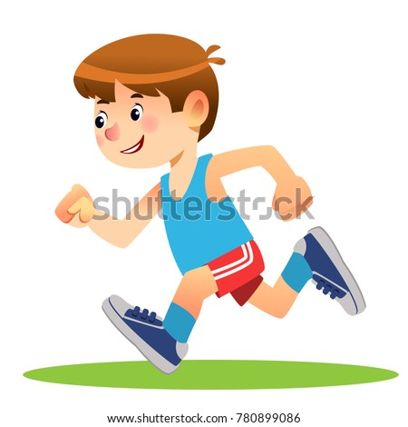Boy running. Marathon runner or a boy running on school sport day