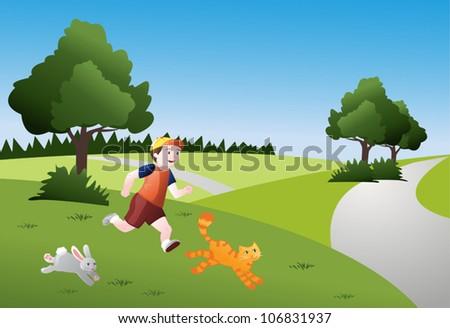 boy running with animals