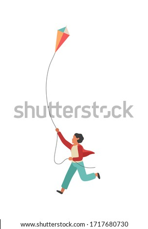Boy runs with a kite. Happy little child playing outdoors, vector colorful flat walking childhood concept