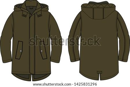 Boy's parka khaki color vector. Technical drawing. Fashion illustration. Сток-фото ©