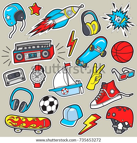 Boy's stickers . Vector patches .