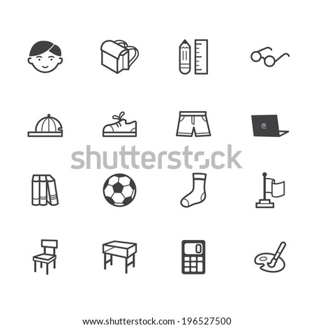 boy school vecter black icon set on white background