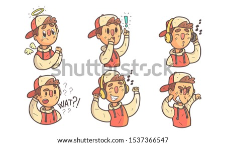Boy Showing Different Emotions Set, Funny Male Cartoon Character Wearing Hoodie and Cap with Various Face Expressions Vector Illustration