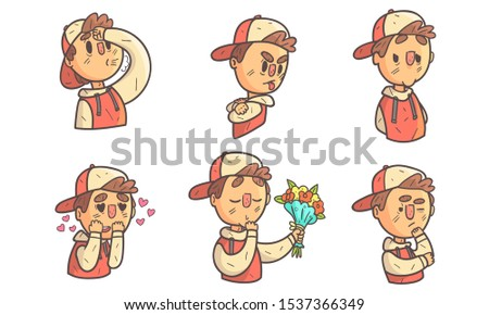 Boy Showing Different Emotions Set, Male Cartoon Character with Various Face Expressions Vector Illustration