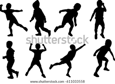 Boy silhouette pose different vector illustration