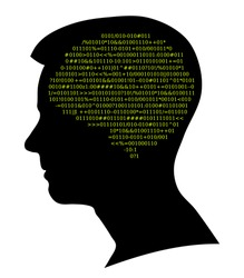 Boy silhouette, source code as brain, Artificial Intelligence