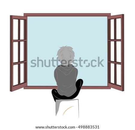 boy sitting by the open window