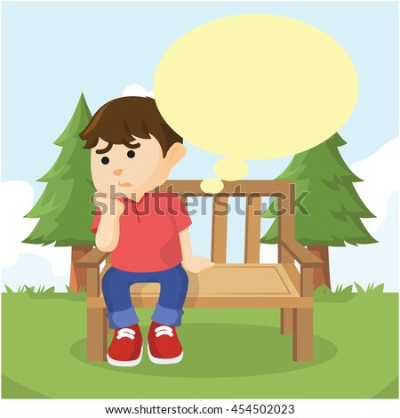 boy sitting on bench thinking