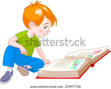 boy  sitting on floor and reading a book