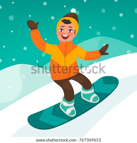 boy skates on a snowboard slope