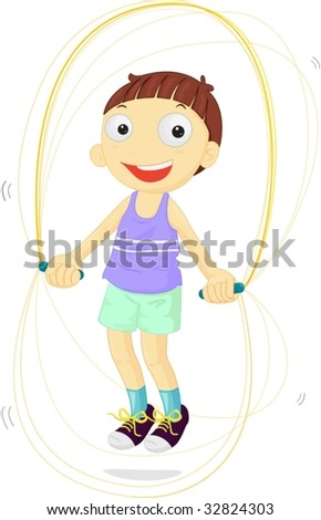 Boy skipping joyfully to become fit