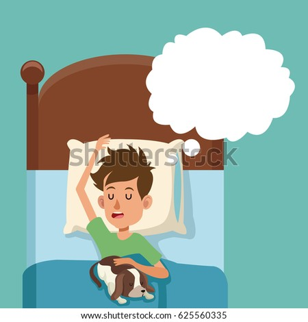 boy sleep dream with dog in bed