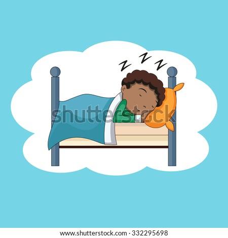 boy sleeping  bedtime  vector