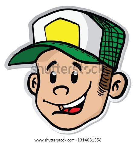 boy smile sticker cartoon illustration isolated on white