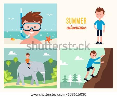 boy snorkeling   climbing rock