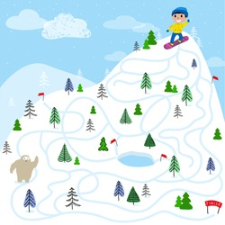 Boy snowboarder on the mountain. Educational game for children. A fun maze for young children. Cartoon vector illustration.