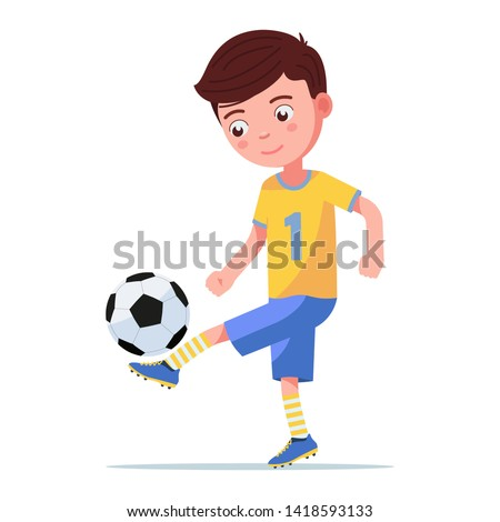 Boy soccer player kicking the ball on his leg. Сhild playing with a football ball. Vector illustration on an isolated white background, flat style.