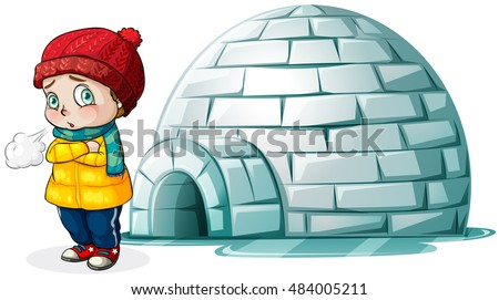 boy standing in front of igloo