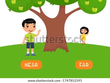 Boy stands NEAR and girl stands FAR. Antonyms word card vector template. Opposites concept.  Foto d'archivio ©