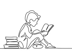 Boy studying with reading book. Back to school concept. Continuous line drawing. Vector illustration on white background