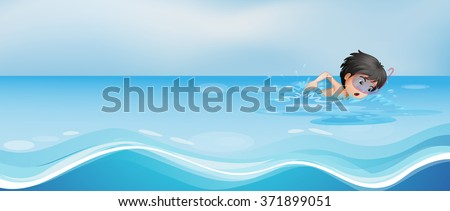 boy swimming alone in the pool