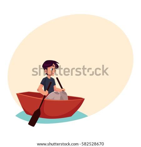 boy swimming in little boat