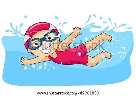 Boy swimming - Vector
