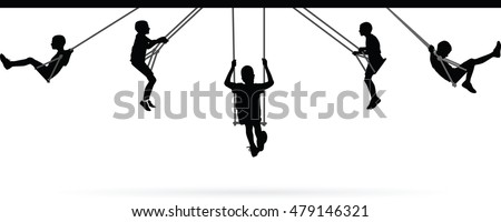 stock-vector-boy-swinging-on-swing-collection-vector-illustration