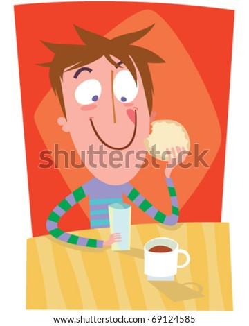boy taking breakfast
