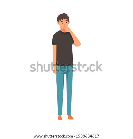 Boy thinks about something cartoon vector illustration