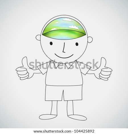 Boy thumb up with Green Environment Brain Vector