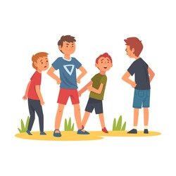 Boy Trying to Stop Boy Who Bullying Kids, Child Defending Little Boy and Girl Who Standing Behind Him Vector Illustration