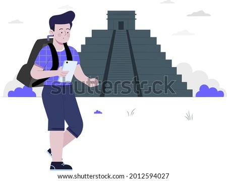 boy visiting at Ciudad de Mexico concept flat design illustration, Ciudad de Mexico, boy with travel bag holding mobile Foto stock ©