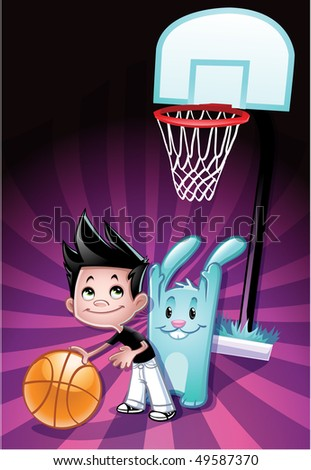 Boy vs Bunny in a game of basketball