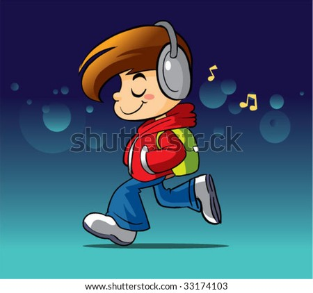 boy walking and listening music
