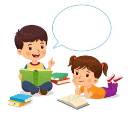 Boy was telling the story from the book he had read with speech bubble to the girl listening carefully.